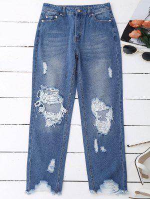 Distressed Raw Hem Jeans - Denim Blue L