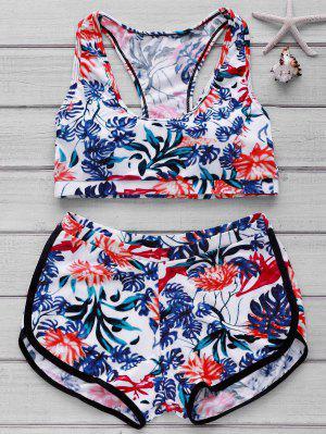 Bikini Avec Haut Imprimée Et Bas De Boyshorts - Floral L