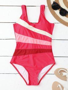 Stripes Slimming One Piece Swimsuit - Rose M