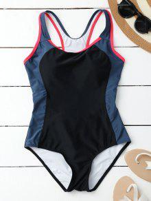 Racerback Sporty Slimming One Piece Swimsuit - Black S