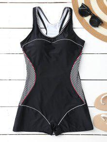 Racerback Boyleg One Piece Swimwear - Black S