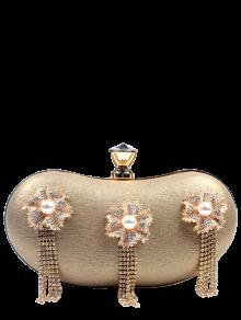 حقيبة للسهرات مزينة بورود وأهداب وحجر الراين - ذهبي