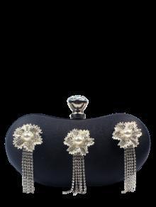 حقيبة للسهرات مزينة بورود وأهداب وحجر الراين - أسود