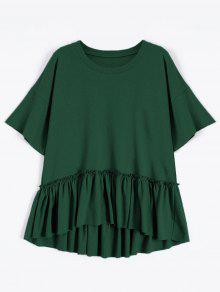 Short Sleeve Ruffle Hem T-Shirt - Blackish Green