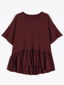 Short Sleeve Ruffle Hem T-Shirt - Wine Red