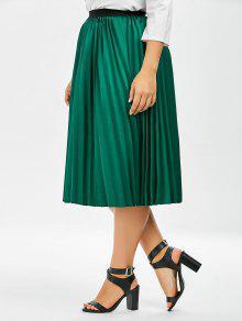 29e50064e84 2019 Plus Size Sparkly Midi Pleated Skirt In GREEN XL