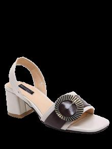 Buy Block Heel Slingback Buckle Strap Sandals - OFF-WHITE 39