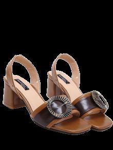 Buy Block Heel Slingback Buckle Strap Sandals - BROWN 39