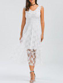 فستان رباط دانتيل مفتوحة الظهر - أبيض L