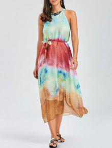 Jewel Neck Tie Dye Beach Dress