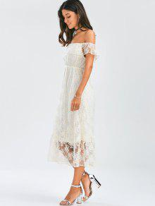 White lace off the shoulder maxi dress