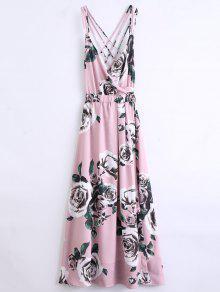 Robe De Plage à Bretelles Florale - Rose PÂle L