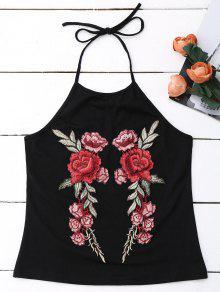 Embroidered Rose Halter Tank Top - Black L