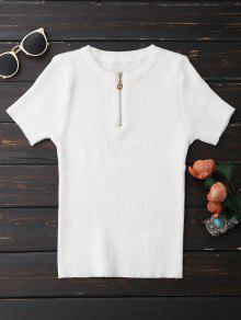 Half Zipper Short Sleeve Knit Top - White