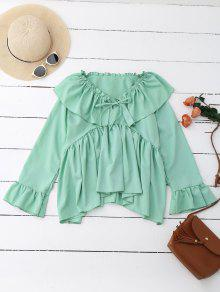 Ruffle Tie Neck Flare Sleeve Oversized Blouse - Mint M