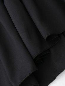 Negro o Neck Gran Sleeve Tama Blusa Tie Ruffle Flare L De xST8wHTzq