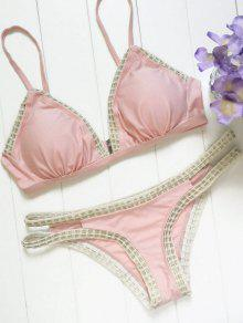 Piped Pink Bikini Set - Pink L