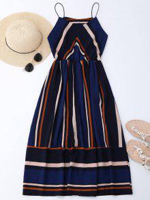 Mini Vestido De Sol De Multi-rayas Con Tirantes Finos - Raya M