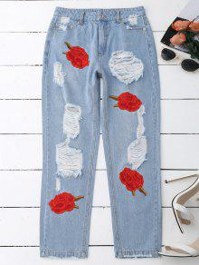 Flower Embroidered Ripped Jeans - Denim Blue L