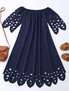 Vestido De Encaje Con Vuelo Con Hombros Al Aire - Azul Purpúreo S