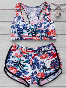 Printed Crop Top And Boyshorts Bikini - Floral M