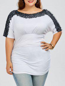 Plus Size Lace Trim Ruched T-Shirt - White 5xl