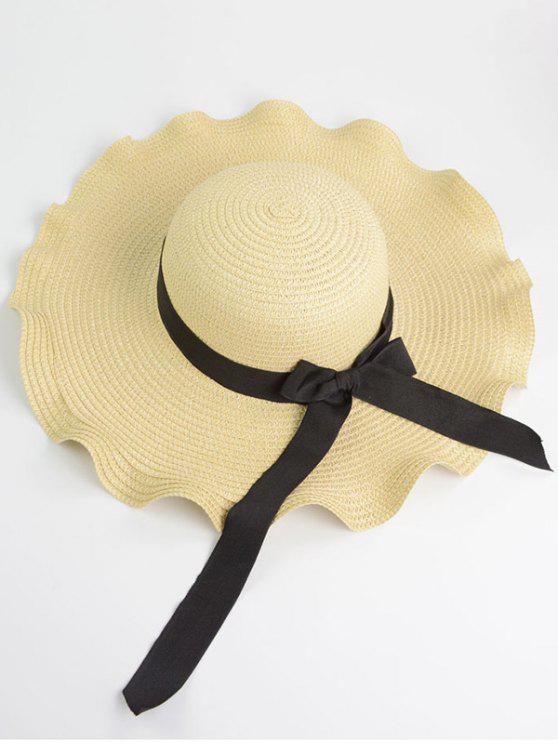 new Wave Shape Bow Knot Straw Hat - OFF-WHITE ONE SIZE