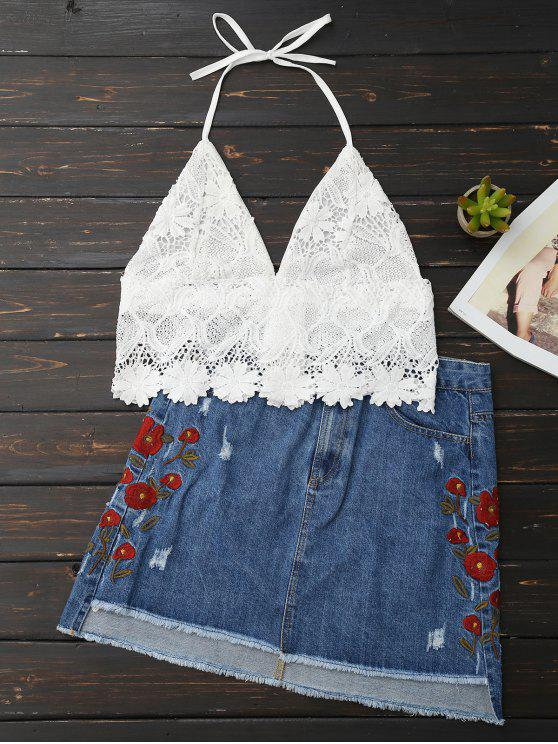 affordable Lace Scalloped Crop Top - WHITE ONE SIZE
