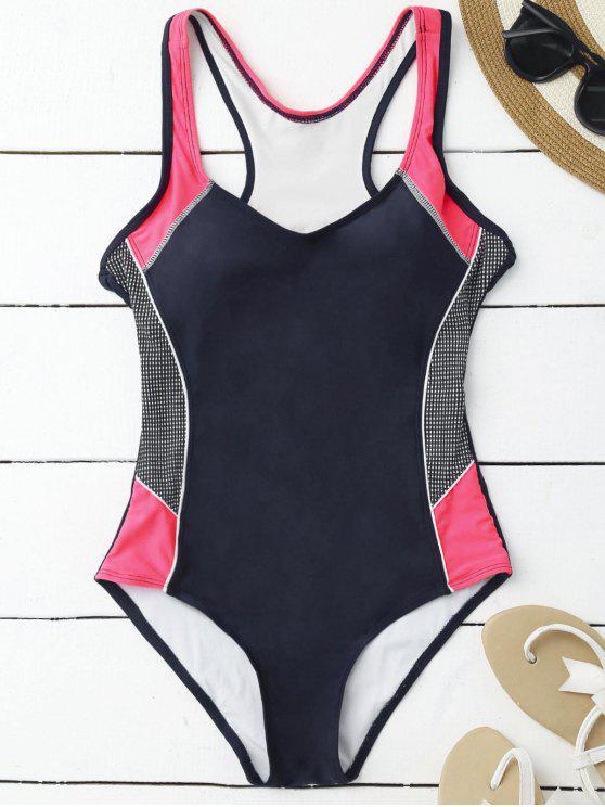 ladies Contrasting Tummy Control One Piece Swimsuit - PURPLISH BLUE M