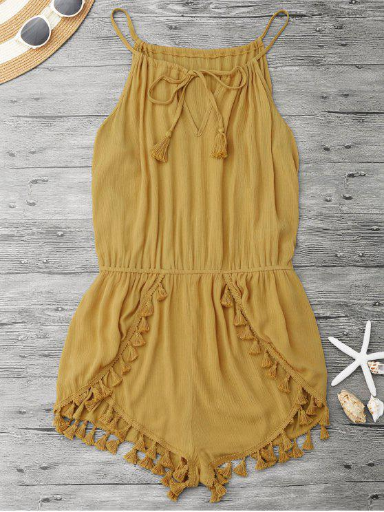 lady String Fringed Romper - YELLOW M