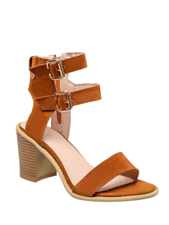 78051d02fa8 40% OFF  2019 Solid Color Double Buckles Chunky Heel Sandals In ...
