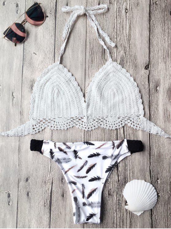 buy Back Tie Feather Print Crochet Bikini - WHITE S