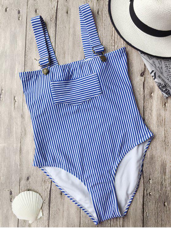 affordable Straps High Cut Striped Swimwear - STRIPE M