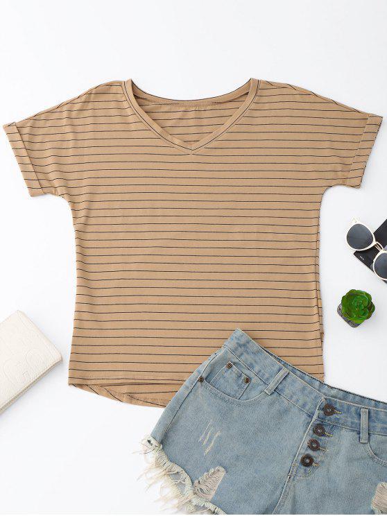 Camiseta de manga larga con rayas de gran tamaño - Caqui Oscuro XL