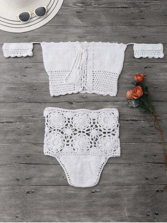 fancy Off Shoulder High Waisted Crochet Bikini - WHITE S