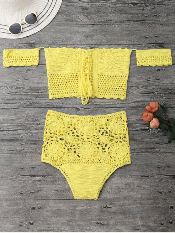 sale Off Shoulder High Waisted Crochet Bikini - YELLOW M