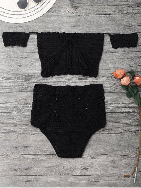 Off Shoulder High Waisted Crochet Bikini - Black S