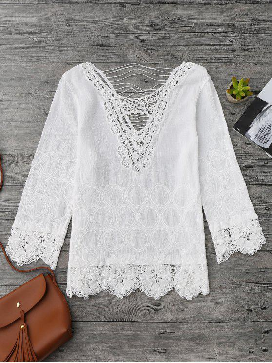 fancy Crochet Flower Cutout Beach Cover Up Top - WHITE ONE SIZE