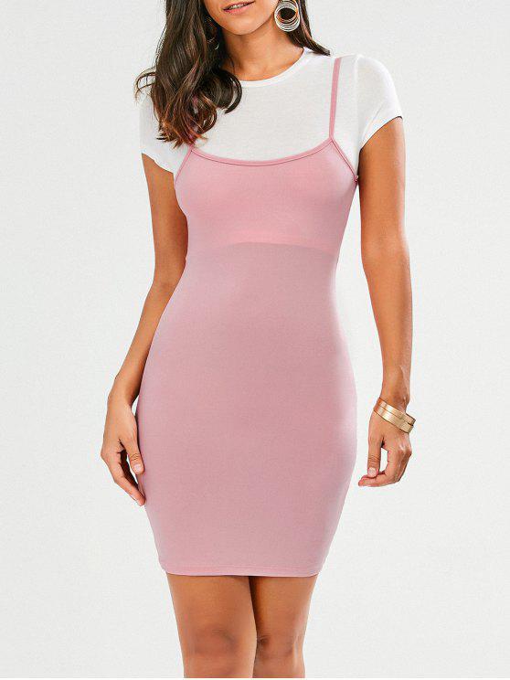 women Faux Straps Color Block Bodycon Dress - PINK S