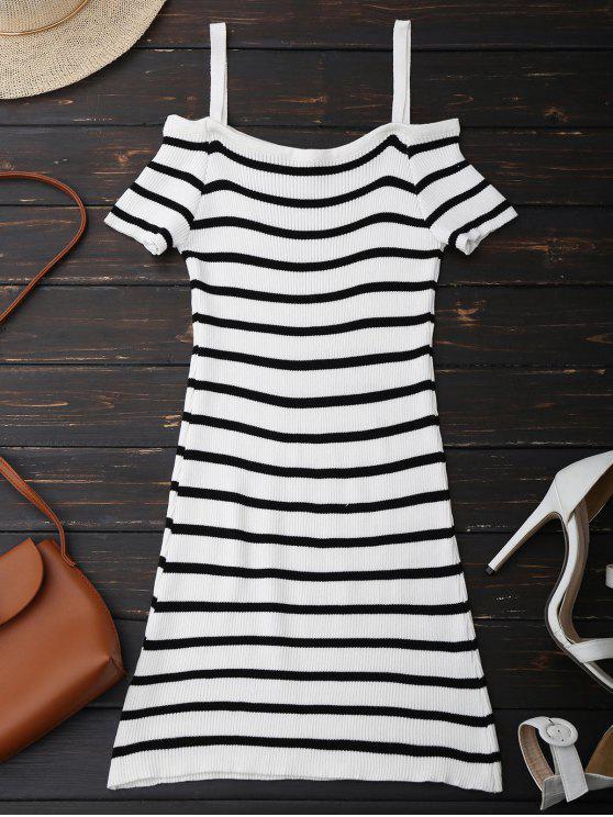 السباغيتي حزام الكتف البارد مخطط اللباس متماسكة - أبيض حجم واحد