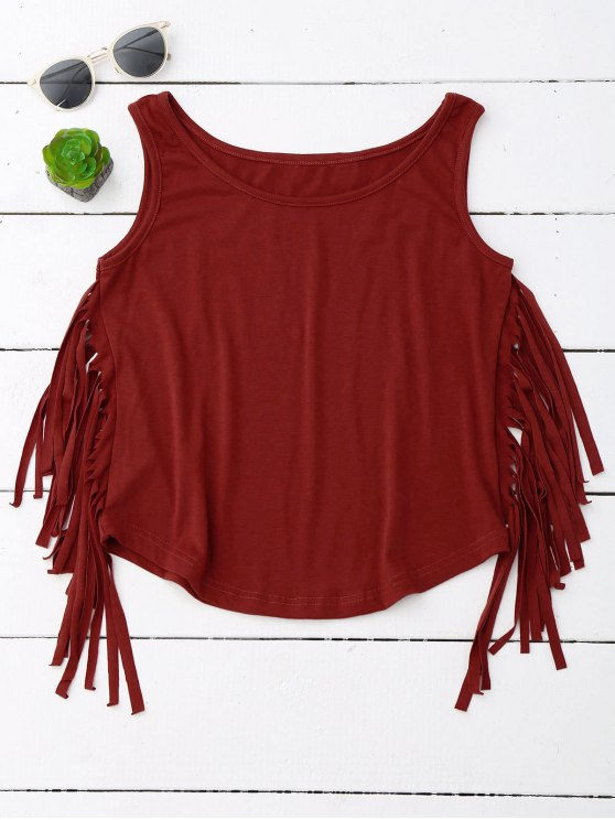 fashion Side Fringed Tank Top - WINE RED XL