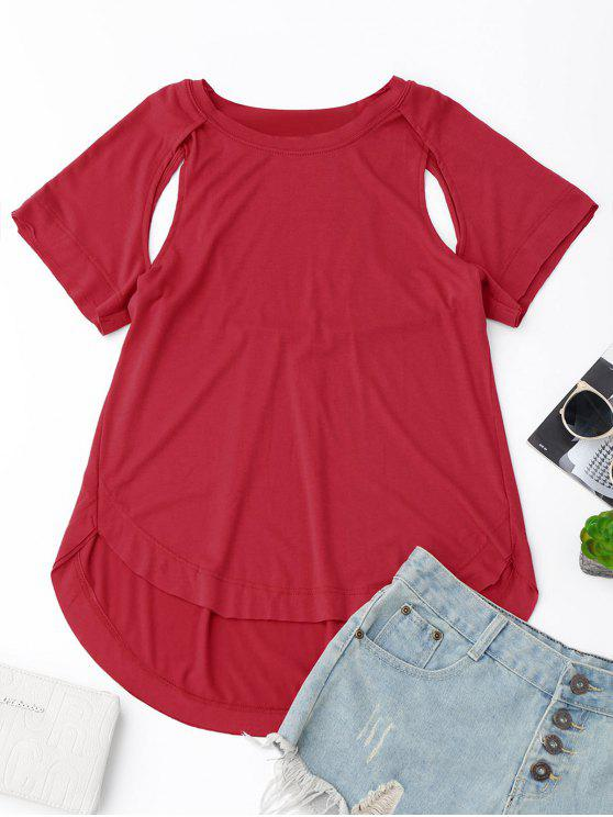 chic Cut Out High Low T-Shirt - RED L