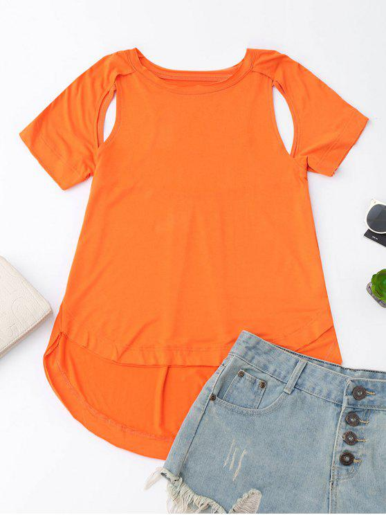 sale Cut Out High Low T-Shirt - ORANGE XL