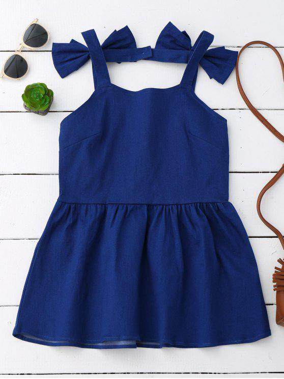 Bowknot Skirted Backless Denim Top - Azul XL