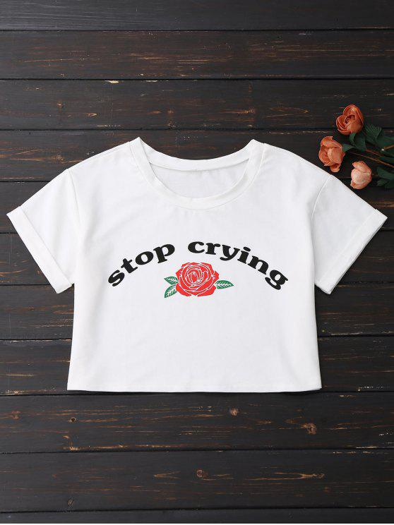 affordable Stop Crying Rose Crop Tee - WHITE XL
