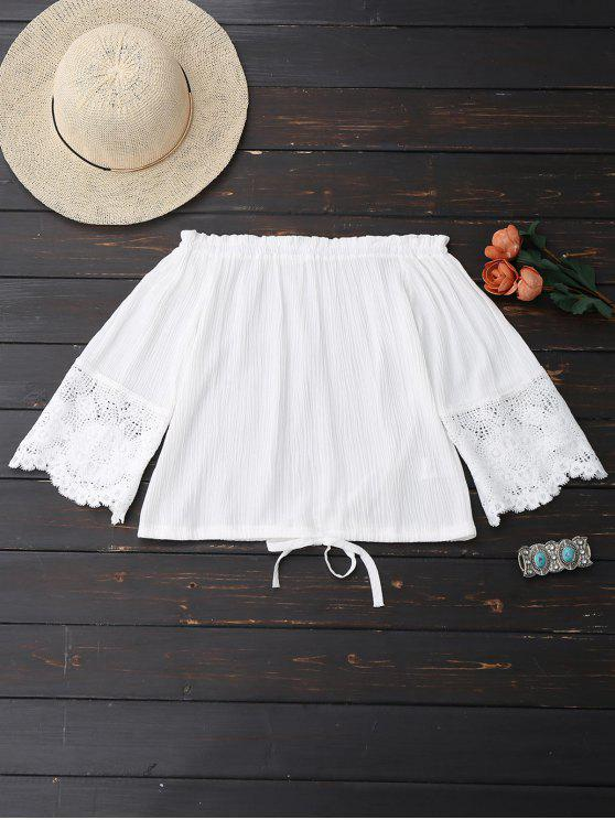 online Off Shoulder Drawstring Hem Blouse - WHITE L