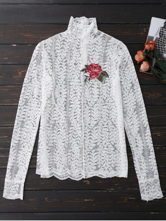 women's Floral Lace Mock Neck Top - WHITE M
