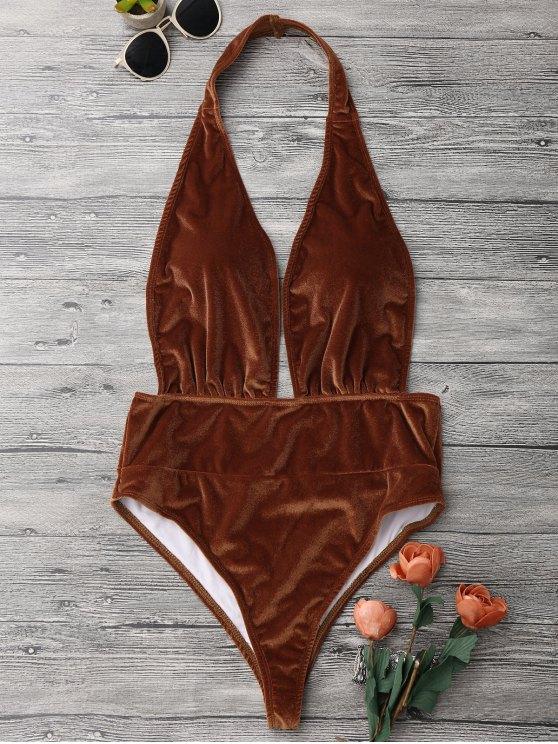 shop Halter Pretzel Monokini One Piece Swimsuit - GOLD BROWN S