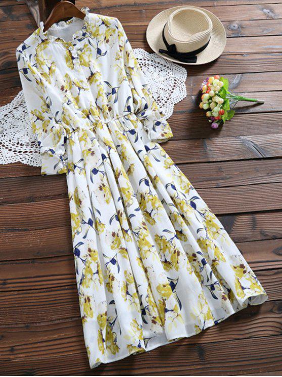 women's Long Sleeve Painted Flower Shirt Dress - YELLOW M