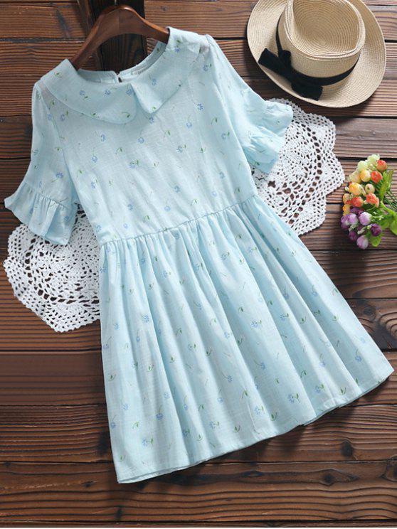 Robe florale plissée à col claudine - Bleu clair M
